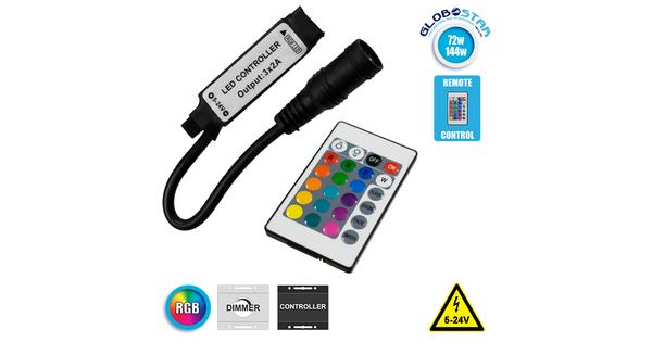 Ασύρματος LED RGB Controller με Χειριστήριο IR 5v (30w) 12v (72w) 24v (144w) GloboStar 73402