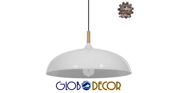 Μοντέρνο Κρεμαστό Φωτιστικό Οροφής Μονόφωτο Λευκό Μεταλλικό Καμπάνα Φ60  VALLETE WHITE 01257