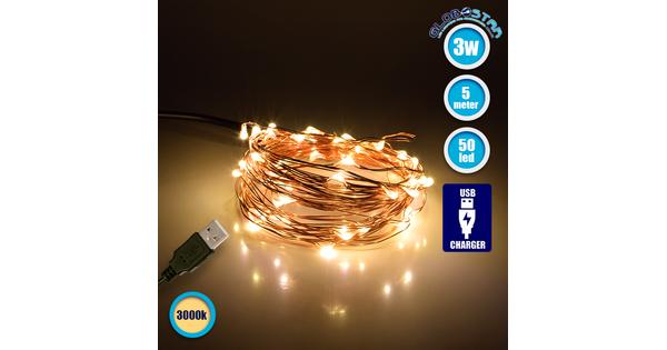 79721 Διακοσμητική Γιρλάντα 5 Μέτρων 50 LED USB 5 Volt 3 Watt με Χάλκινο Συρμάτινο Καλώδιο Θερμό Λευκό 3000k