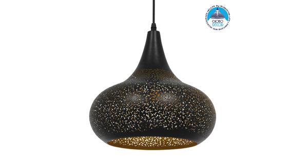 Μοντέρνο Κρεμαστό Φωτιστικό Οροφής Μονόφωτο Μαύρο με Χρυσό Μεταλλικό Καμπάνα Φ30  JANIS 01590