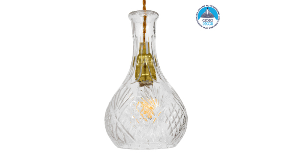 Vintage Κρεμαστό Φωτιστικό Οροφής Μονόφωτο Γυάλινο Διάφανο Φ14  RUM 01514