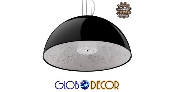Μοντέρνο Κρεμαστό Φωτιστικό Οροφής Μονόφωτο Μαύρο Γύψινο Καμπάνα Φ90  SERENIA BLACK 01272