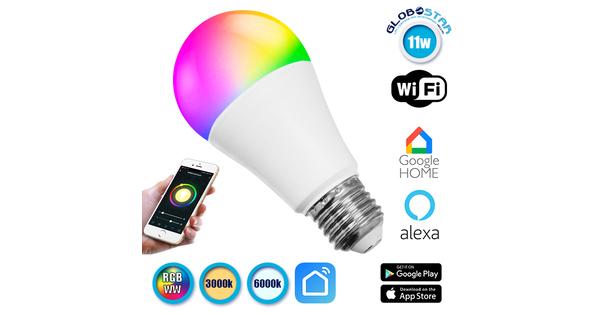 Λάμπα LED E27 A60 Γλόμπος 11W 230V 960lm 260° Smart Home WiFi RGBW-WW Ψυχρό Λευκό 6000k - Λευκό Ημέρας 4500k - Θερμό Λευκό 3000k GloboStar 88967