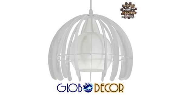 Μοντέρνο Κρεμαστό Φωτιστικό Οροφής Μονόφωτο Λευκό Μεταλλικό Πλέγμα με Λευκό Γυαλί Φ26  STEPHEN 01225