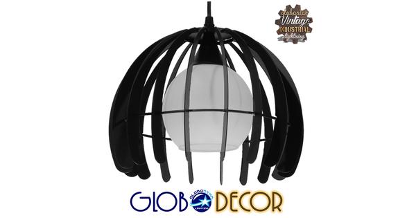 Μοντέρνο Κρεμαστό Φωτιστικό Οροφής Μονόφωτο Μαύρο Μεταλλικό Πλέγμα με Λευκό Γυαλί Φ26  INGLEY 01226