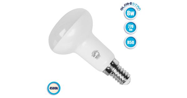 Λαμπτήρας LED R50 με Βάση E14 8 Watt 230v Ημέρας GloboStar 01743