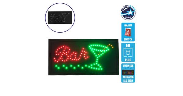 Φωτιστικό LED Σήμανσης BAR WITH COCTAIL με Διακόπτη ON/OFF και Πρίζα 230v 48x2x25cm GloboStar 96310
