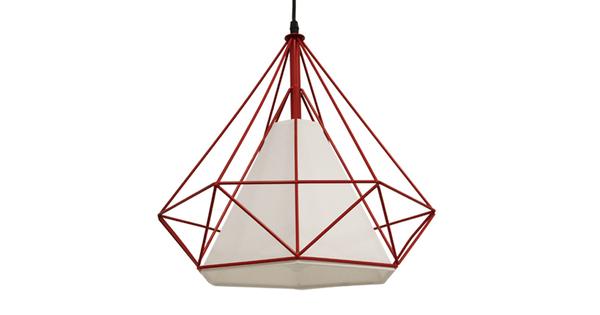 Μοντέρνο Industrial Κρεμαστό Φωτιστικό Οροφής Μονόφωτο Κόκκινο με Άσπρο Ύφασμα Μεταλλικό Πλέγμα Φ38  KAIRI RED 01620