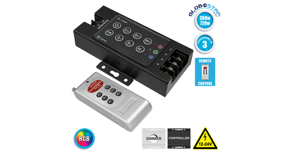 73405 Ασύρματος LED RGB Controller με Χειριστήριο RF 12v (360w) - 24v (720w) DC