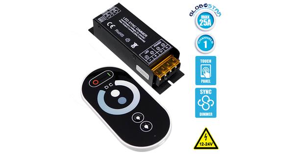 Ασύρματο LED Dimmer με Χειριστήριο Αφής 2.4G SYNC 12v (300w) - 24v (600w)  04062