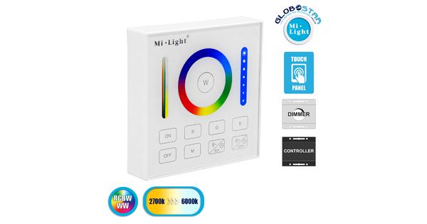 73425 Mi-Light B0 LED RGBW+WW+CCT Smart Ασύρματο Χειριστήριο Αφής 2.4G RF Φορητό/Τοίχου με Μπαταρία για όλα τα Mi-Light Controller Box