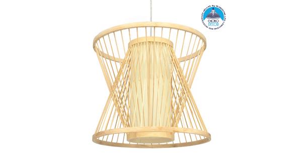 GloboStar® DE PARIS 01632 Vintage Κρεμαστό Φωτιστικό Οροφής Μονόφωτο Μπεζ Ξύλινο Bamboo Φ35 x Y32cm
