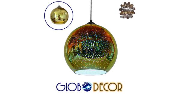 Μοντέρνο Κρεμαστό Φωτιστικό Οροφής Μονόφωτο Γυάλινο Νίκελ Χρυσό 3D Φ25  SATURN 01351