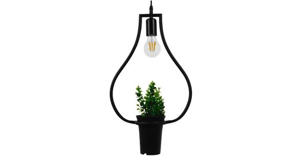 Μοντέρνο Κρεμαστό Φωτιστικό Οροφής Μονόφωτο Μαύρο Μεταλλικό Flowerpot Φ27  RHEXIA 01210