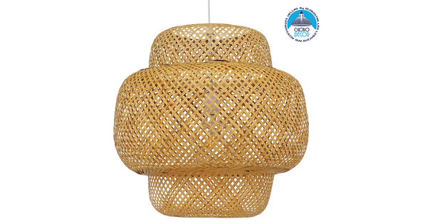 Vintage Κρεμαστό Φωτιστικό Οροφής Μονόφωτο Καφέ Ξύλινο Bamboo Φ56  MALVIDES LIGHT BROWN 01657