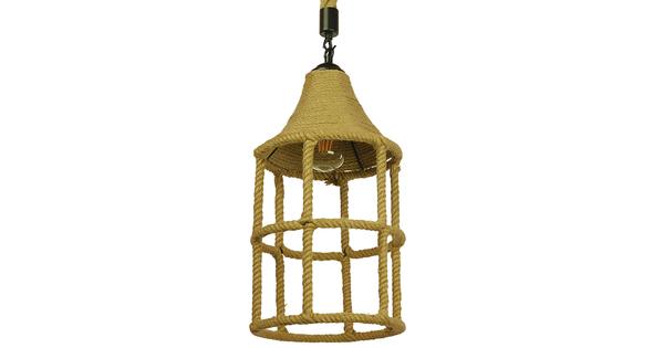 Vintage Κρεμαστό Φωτιστικό Οροφής Μονόφωτο Πλέγμα με Μπεζ Σχοινί Φ22  YUBA 01612
