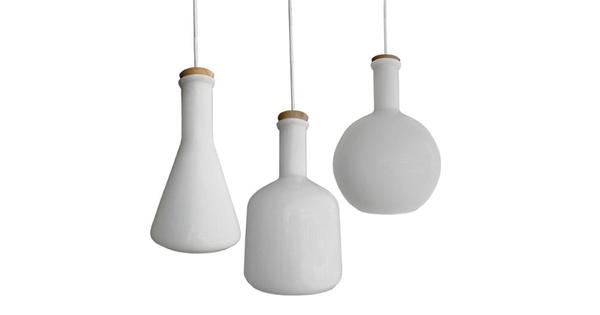 SET 3 Μοντέρνα Κρεμαστά Φωτιστικά Οροφής Μονόφωτα Γυάλινα Λευκά  BOTTLES 01061