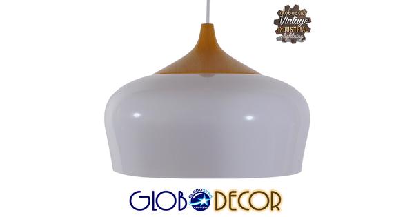 Μοντέρνο Κρεμαστό Φωτιστικό Οροφής Μονόφωτο Λευκό Μεταλλικό Καμπάνα Φ35  VILI WHITE 01260
