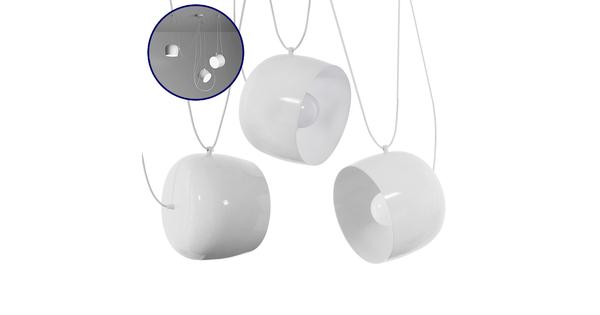 SET 3 Μοντέρνα Κρεμαστά Φωτιστικά Οροφής Μονόφωτα Λευκά Μεταλλικά Καμπάνα Φ25  BOLLE 01376
