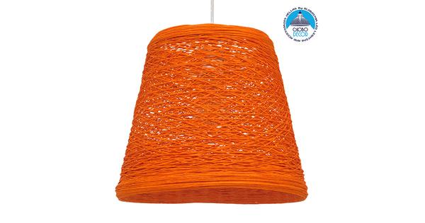 Vintage Κρεμαστό Φωτιστικό Οροφής Μονόφωτο Πορτοκαλί Ξύλινο Ψάθινο Rattan Φ32 GloboStar ARGENT ORANGE 00997