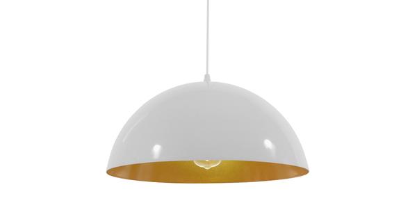 Μοντέρνο Κρεμαστό Φωτιστικό Οροφής Μονόφωτο Λευκό Χρυσό Μεταλλικό Καμπάνα Φ40  LUNE 01339