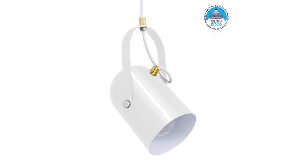 Μοντέρνο Κρεμαστό Φωτιστικό Οροφής Μονόφωτο Λευκό Glossy με Χρυσές Λεπτομέρειες Μεταλλικό Φ12cm  HAZEL WHITE GLOSSY 00924