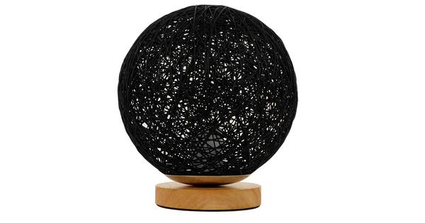Μοντέρνο Επιτραπέζιο Φωτιστικό Πορτατίφ Μονόφωτο Μαύρο Ξύλινο Ψάθινο Rattan Φ20  INDUS 01338