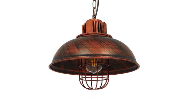 Vintage Industrial Κρεμαστό Φωτιστικό Οροφής Μονόφωτο Καφέ Σκουριά Μεταλλικό Πλέγμα Φ33 GloboStar HARROW IRON RUST 01572