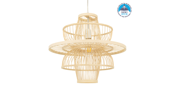 BALI 00861 Vintage Κρεμαστό Φωτιστικό Οροφής Μονόφωτο Μπεζ Ξύλινο Bamboo Φ45 x Y42.5cm
