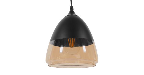 Vintage Κρεμαστό Φωτιστικό Οροφής Μονόφωτο Μαύρο Μεταλλικό με Γυαλί Καμπάνα Φ20 GloboStar GADIEL 01231