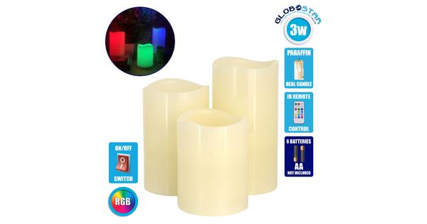 GloboStar® 79556 ΣΕΤ 3 Διακοσμητικών Κεριών Παραφίνης με LED Μπαταρίας & Ασύρματο Χειριστήριο IR Πολύχρωμα RGB