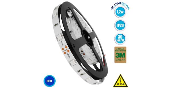 GloboStar® 70016 Ταινία LED SMD 5050 5m 7.2W/m 30LED/m 727 lm/m 120° DC 12V IP20 Μπλε - 5 Χρόνια Εγγύηση