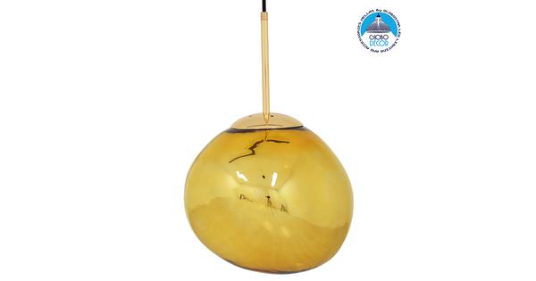Μοντέρνο Κρεμαστό Φωτιστικό Οροφής Μονόφωτο Γυάλινο Χρυσό Φ28 GloboStar DIXXON GOLD 01462