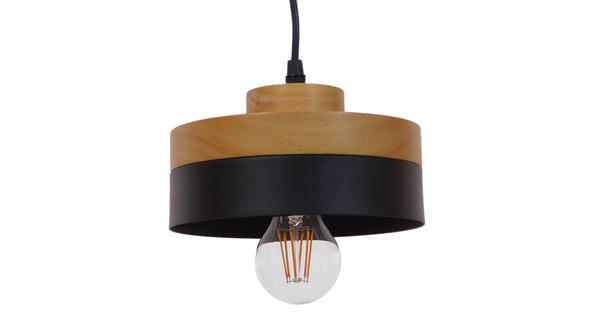 Μοντέρνο Κρεμαστό Φωτιστικό Οροφής Μονόφωτο Μαύρο Μεταλλικό με Φυσικό Ξύλο Καμπάνα Φ18 GloboStar RUHIEL 01233