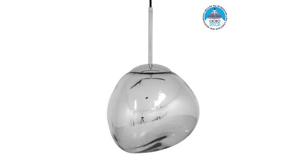Μοντέρνο Κρεμαστό Φωτιστικό Οροφής Μονόφωτο Γυάλινο Ασημί Νίκελ Φ28  DIXXON CHROME 01460