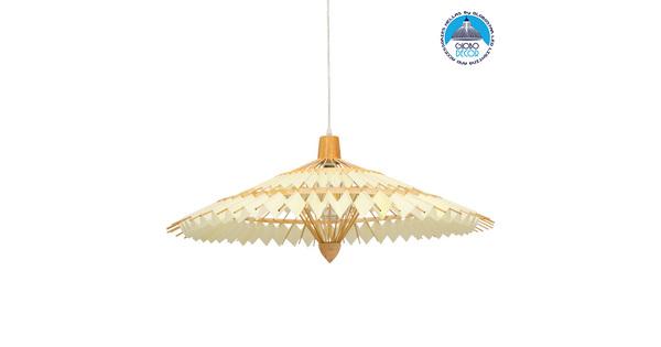Vintage Κρεμαστό Φωτιστικό Οροφής Μονόφωτο Καφέ Ξύλινο Bamboo Ø80xY40cm  VENTALIA Ø80xY40cm 00895