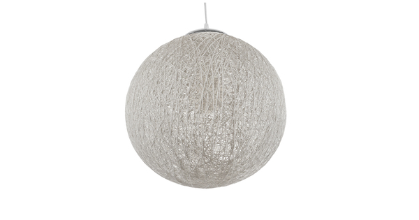 Vintage Κρεμαστό Φωτιστικό Οροφής Μονόφωτο Λευκό Ξύλινο Ψάθινο Rattan Φ40  SISO 01359