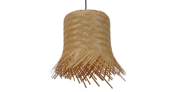 Vintage Κρεμαστό Φωτιστικό Οροφής Μονόφωτο Μπέζ Ξύλινο Ψάθινο Rattan Φ28  LΕΕGAR 01201