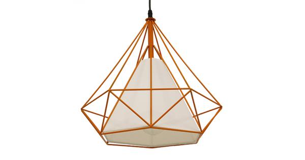 Μοντέρνο Industrial Κρεμαστό Φωτιστικό Οροφής Μονόφωτο Πορτοκαλί με Άσπρο Ύφασμα Μεταλλικό Πλέγμα Φ38  KAIRI ORANGE 01621