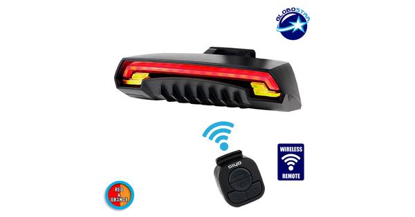 Ασύρματο Οπίσθιο Φανάρι Ποδηλάτου LED Stop - Αριστερό Φλάς - Δεξί Φλάς με Χειριστήριο Τιμονιού Επαναφορτιζόμενο USB  06206