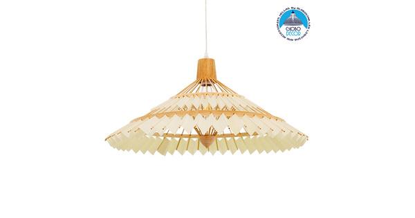 Vintage Κρεμαστό Φωτιστικό Οροφής Μονόφωτο Καφέ Ξύλινο Bamboo Ø60xY30cm GloboStar VENTALIA Ø60xY30cm 00896