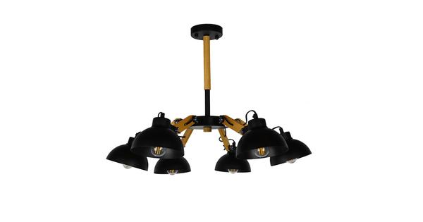 Μοντέρνο Φωτιστικό Οροφής Πολύφωτο Μαύρο Μεταλλικό με Φυσικό Ξύλο Καμπάνα Φ75  OLD SCHOOL 01094