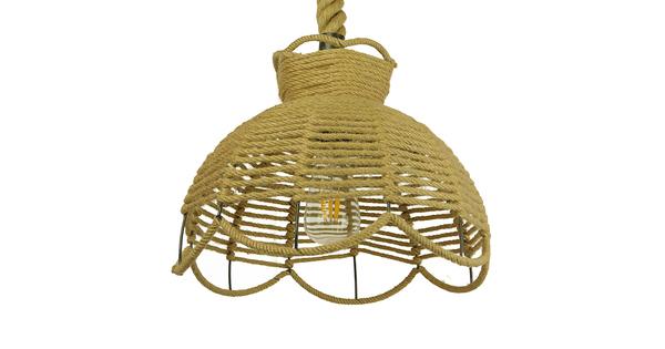 Vintage Κρεμαστό Φωτιστικό Οροφής Μονόφωτο Πλέγμα με Μπεζ Σχοινί Φ34 GloboStar VENIER 01610
