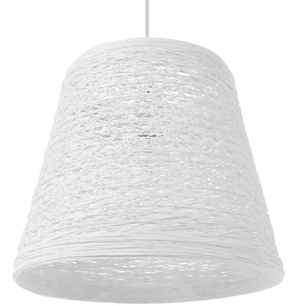 Vintage Κρεμαστό Φωτιστικό Οροφής Μονόφωτο Λευκό Ξύλινο Ψάθινο Rattan Φ32 GloboStar ARGENT 01562