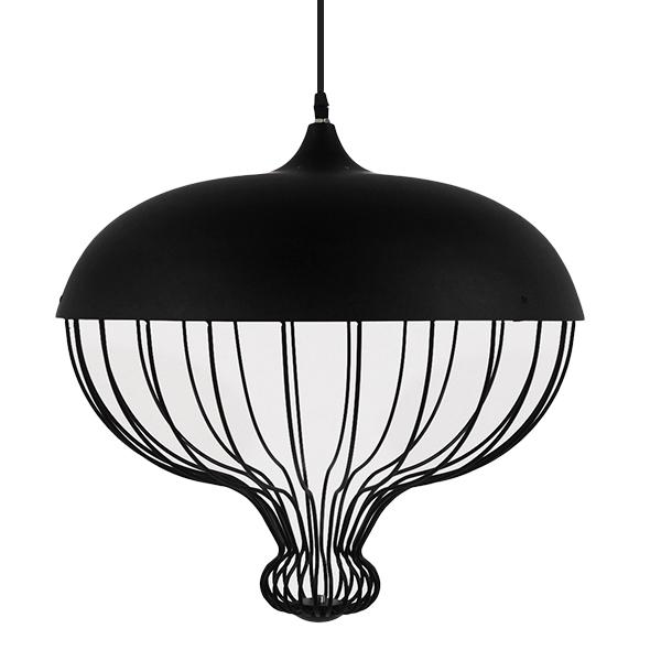 Vintage Κρεμαστό Φωτιστικό Οροφής Μονόφωτο Μαύρο Μεταλλικό Πλέγμα Φ46 GloboStar SOBRINO 01108