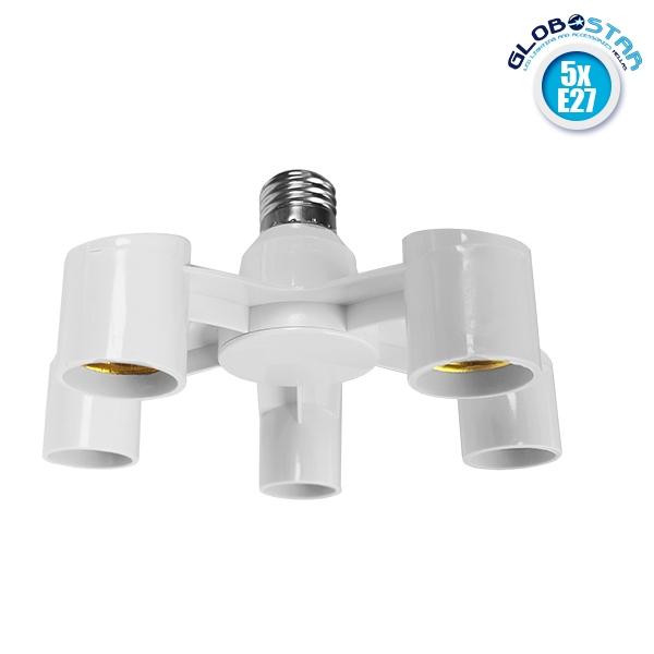 Πλαστικός Αντάπτορας Μετατροπέας από 1xE27 Ντουί σε 5xE27 Ντουί Λευκό GloboStar 78979