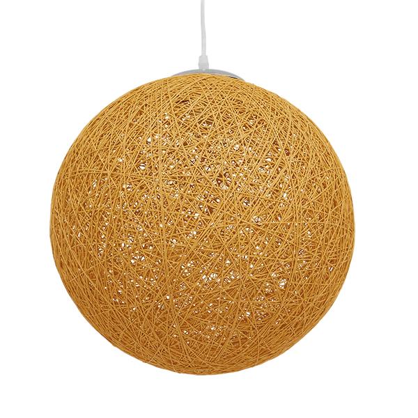 Vintage Κρεμαστό Φωτιστικό Οροφής Μονόφωτο Μπεζ Χρυσό Ξύλινο Ψάθινο Rattan Φ40 GloboStar WOTAN 01357
