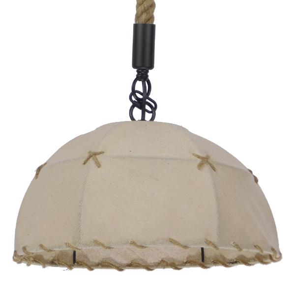Vintage Κρεμαστό Φωτιστικό Οροφής Μονόφωτο με Μπεζ Σχοινί και Καπέλο Φ35 GloboStar ANTOINETTE 01028