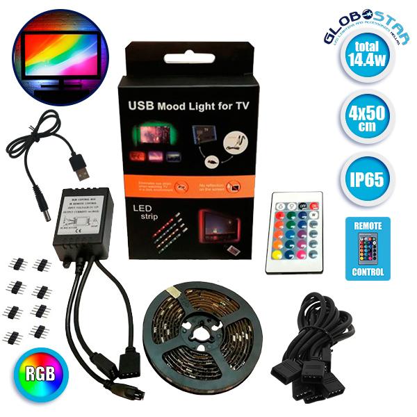 Πλήρες Κιτ Κρυφού Φωτισμού RGB με USB για Τηλεοράσεις και Τηλεχειριστήριο GloboStar 06006