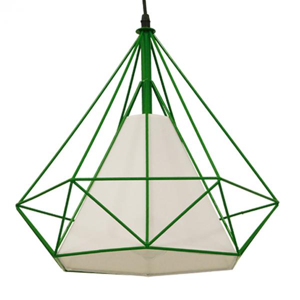 Μοντέρνο Industrial Κρεμαστό Φωτιστικό Οροφής Μονόφωτο Πράσινο με Άσπρο Ύφασμα Μεταλλικό Πλέγμα Φ38 GloboStar KAIRI GREEN 01622